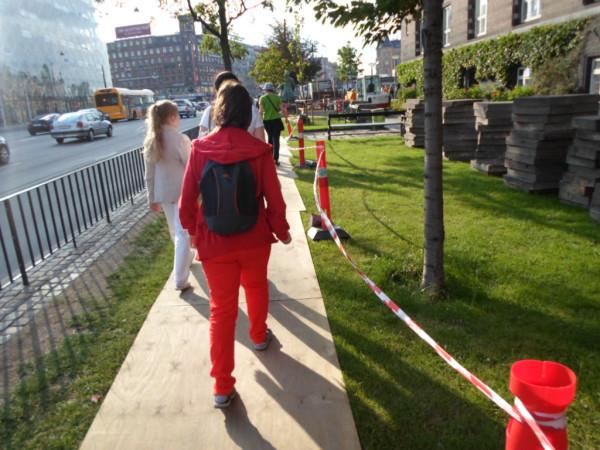 Временный тротуар в Копенгагене