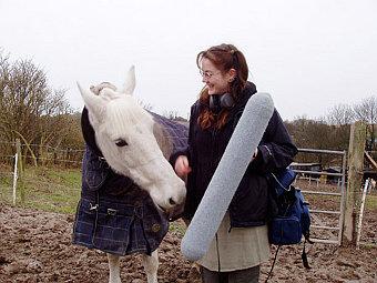 Ученый записывает ржание лошади. Фото авторов исследования