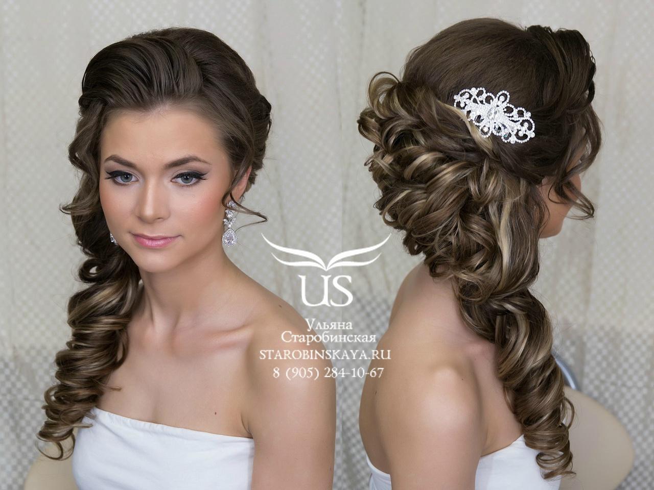 прически на свадьбу коса на бок с фатой