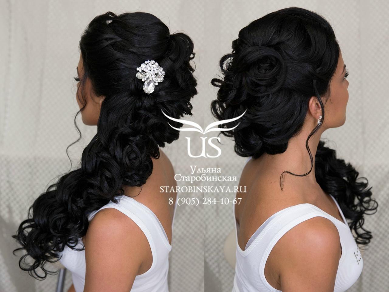 Фото причесок на свадьбу черные волосы