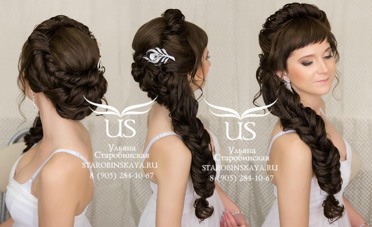 Причёски на свадьбу на средние волосы с косой чёлкой фото