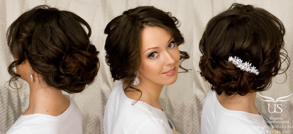 Причёски на среднюю длину на свадьбу