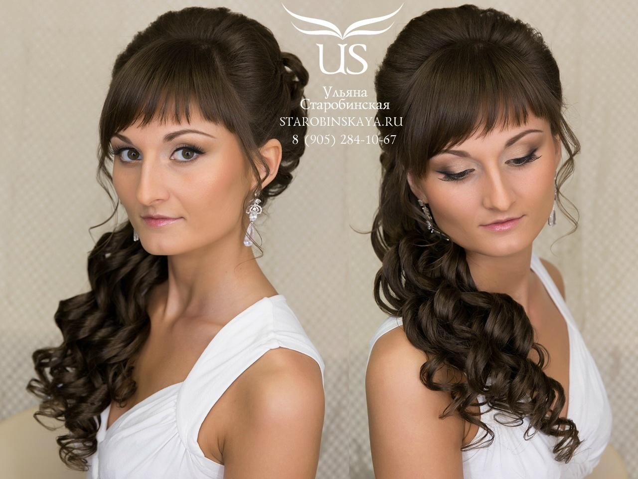 Причёски на выпускной на длинные волосы с прямой челкой фото