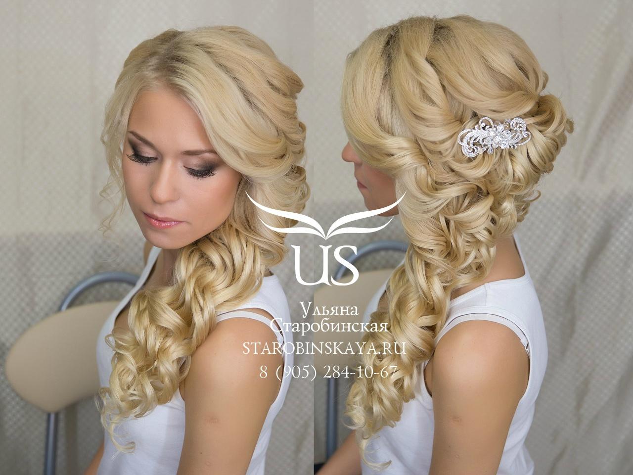 свадебная прическа волосы набок