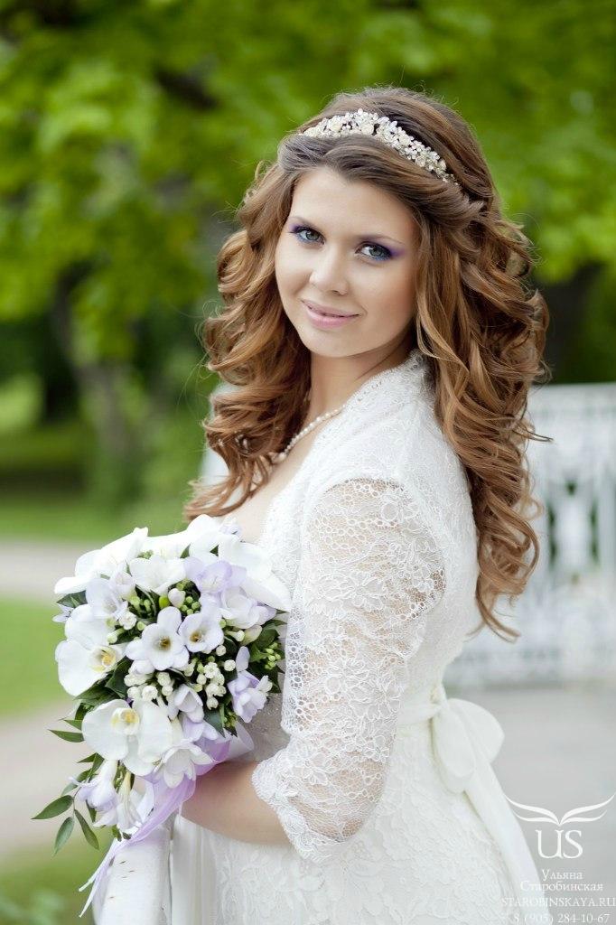 Распущенные прически для невесты