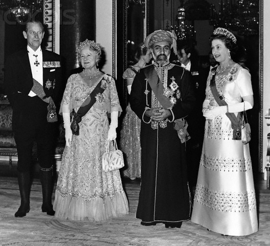 1962_Sultan of Oman, His Majesty Qaboos Bin Said, with (l to r) the Duke of Edinburgh, the Queen Mother and the Queen
