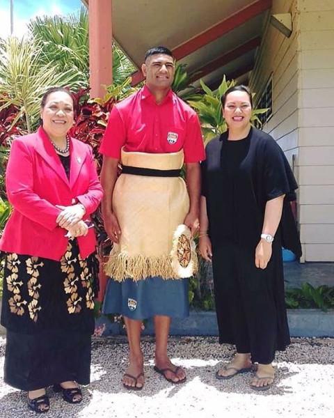 Mate Ma'a Tonga's Daniel Tupou with HM Queen Nanasipau'u & HRH Princess Lātūfuipeka