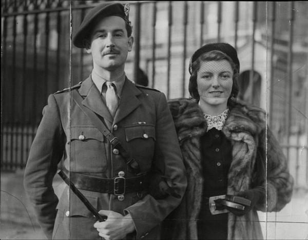 "Commando leader Lord ""Shimi""  Lovat  leaving Buckingham Palace with Lady Lovat"