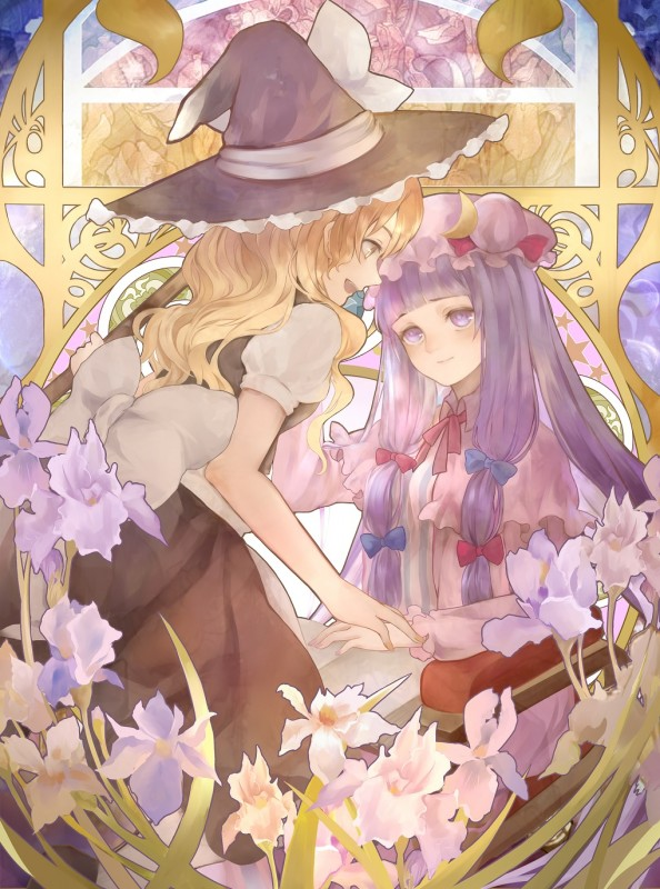 __kirisame_marisa_and_patchouli_knowledge_touhou_drawn_by_jyuui__885bb46258440e58bceaa7695ecab9d3
