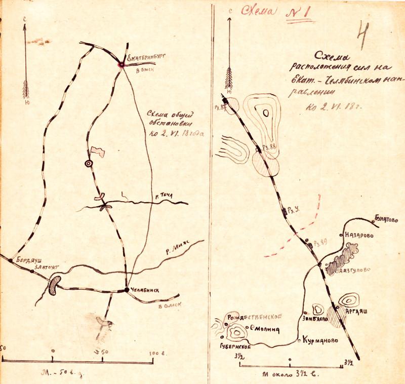 Схема №1. Расположение сил на 02.06.1918