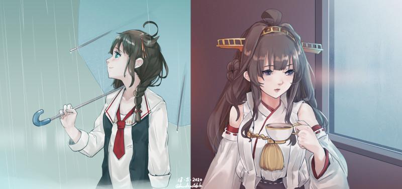 __kongou_and_shigure_kantai_collection_drawn_by_fuwafuwatoufu__01ca395031bbcdec51d5b76f7a851847