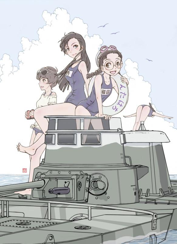 __nishi_kinuyo_fukuda_hosomi_and_tamada_girls_und_panzer_drawn_by_yoshikawa_kazunori__3e37202c81663d0be9e0a344e65e4648