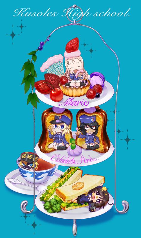 __akiyama_yukari_andou_asparagus_marie_and_oshida_girls_und_panzer_and_girls_und_panzer_ribbon_no_musha_drawn_by_chaki_teasets__baafa5499e58d198c1a04dc75f4c0198