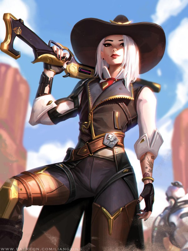 __ashe_and_bob_overwatch_drawn_by_liang_xing__01afc96fea9f6b29416c2ad7591cad32