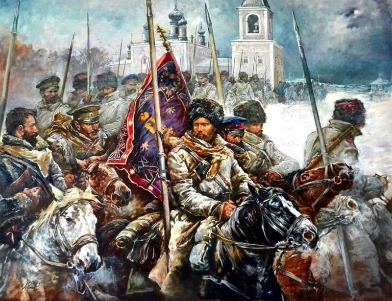…в противоположную сторону от деревни эвакуировались казаки верхами и обозы с их имуществом…
