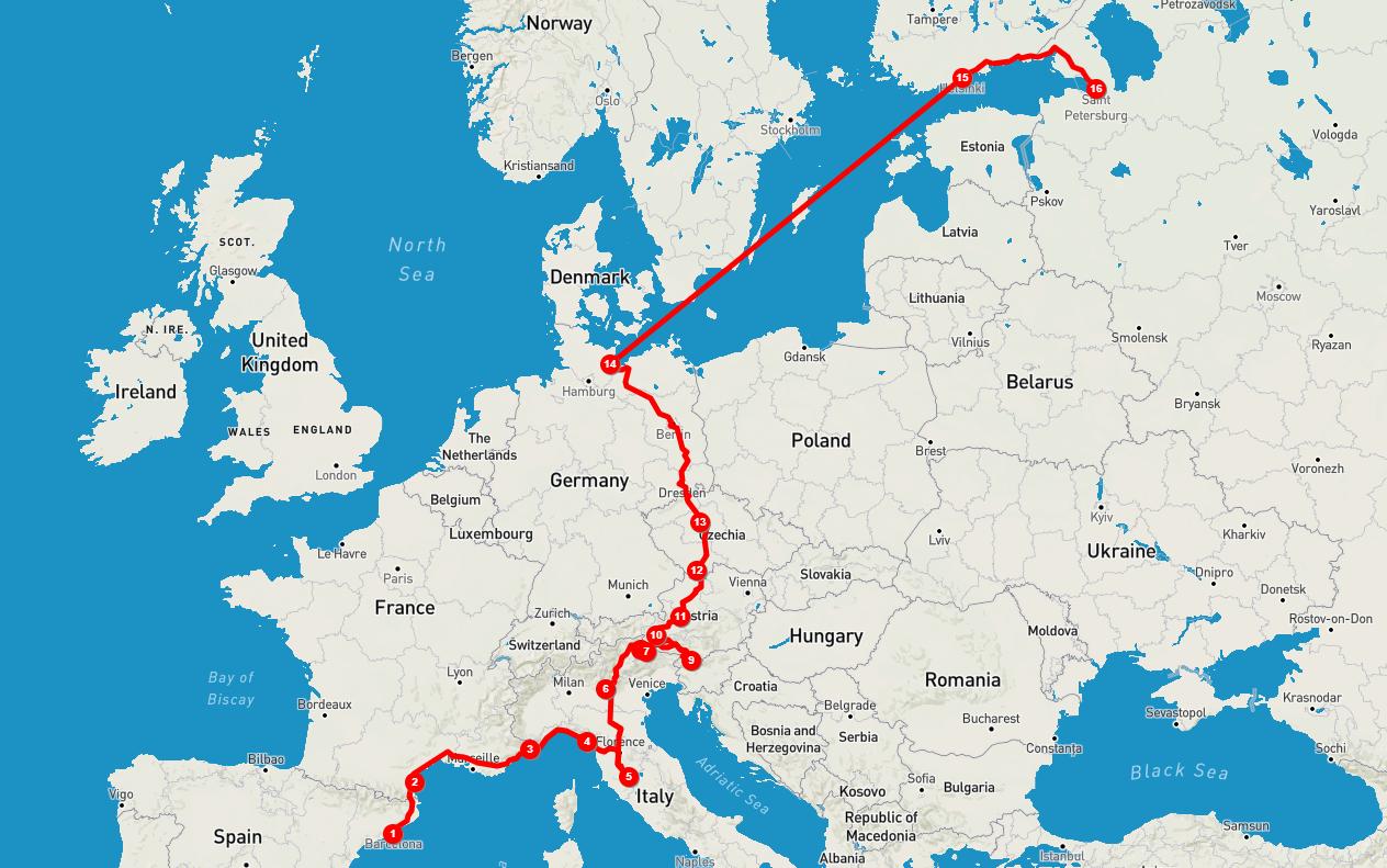 Автомобильное путешествие из Барселоны в Петербург