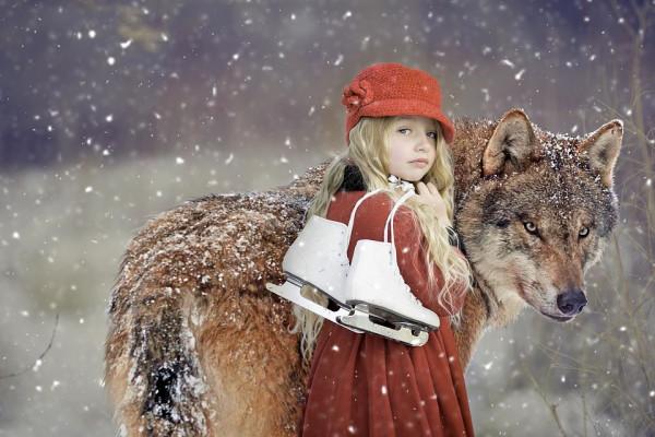 Красная шапочка, волк, коньки
