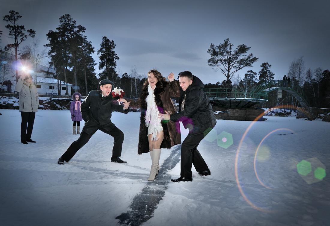 Зимняя свадьба winter wedding strobist