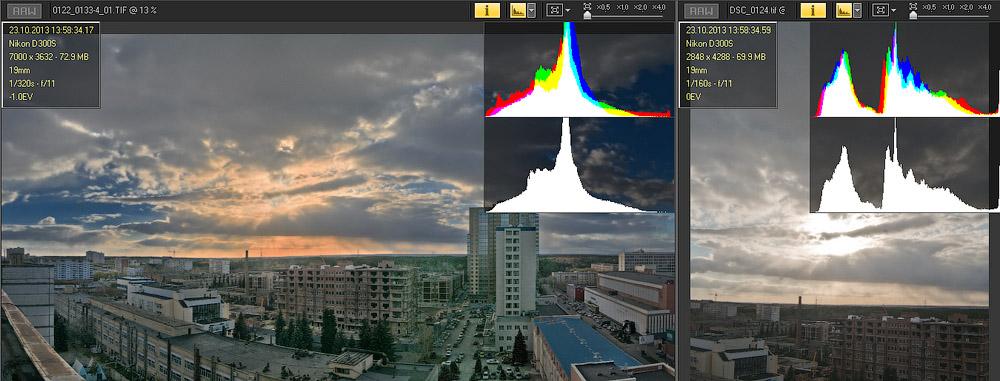 Фотограф Челябинск HDR Закат над городом гистограмма