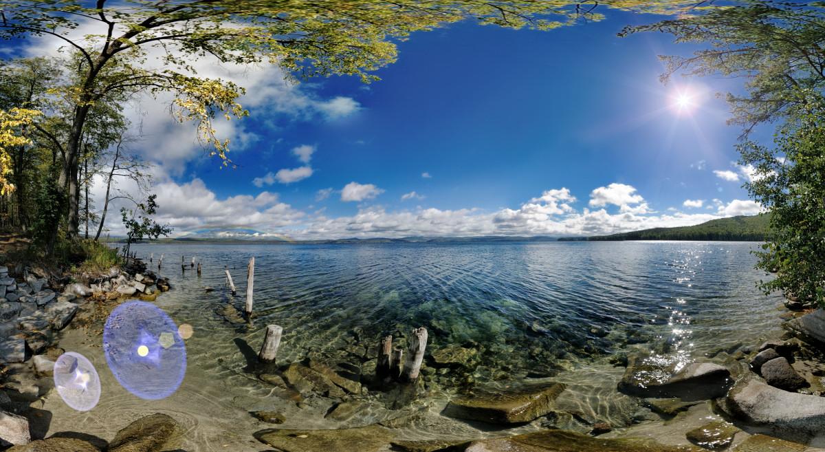 фотограф Челябинск осенняя радуга - 3D панорама у озера