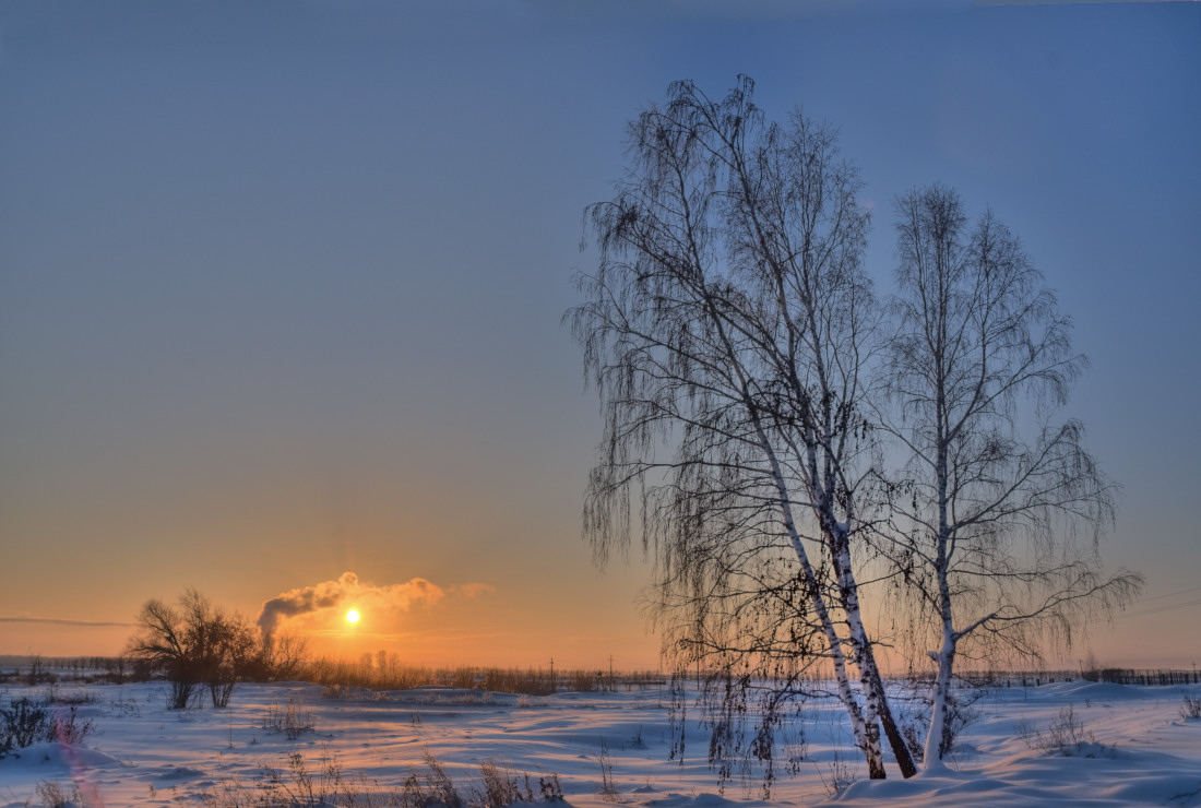 фотограф Челябинск зимний закат в технике HDRi