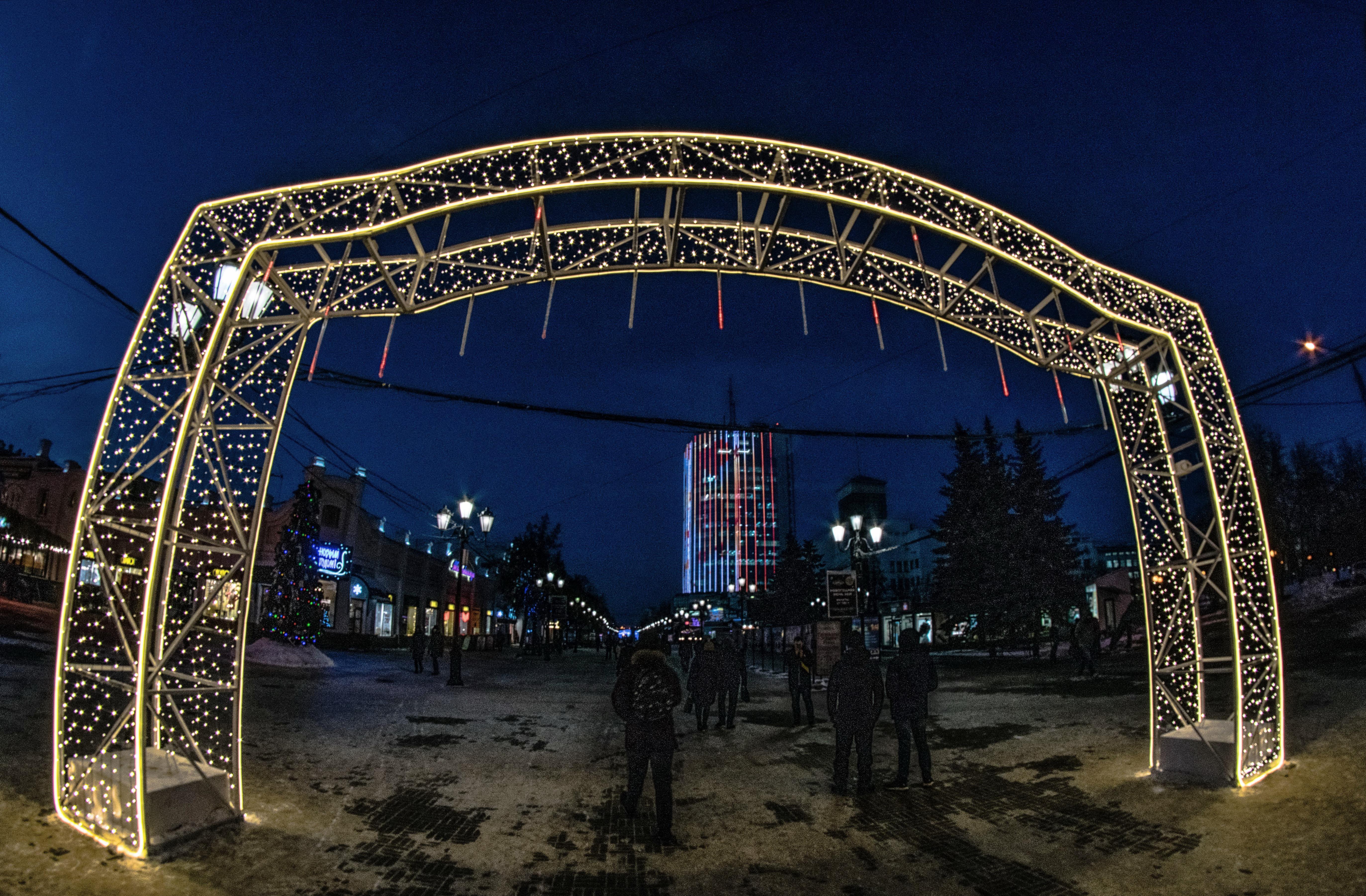 Челябинск, праздничная иллюминация ул. Кирова, пешеходная часть_8415