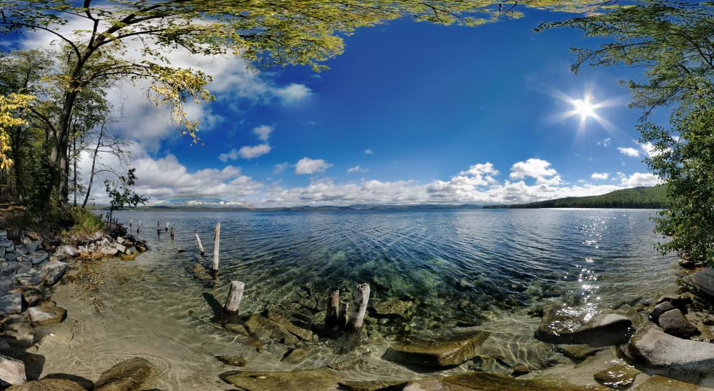 осенняя радуга - 3D панорама у озера