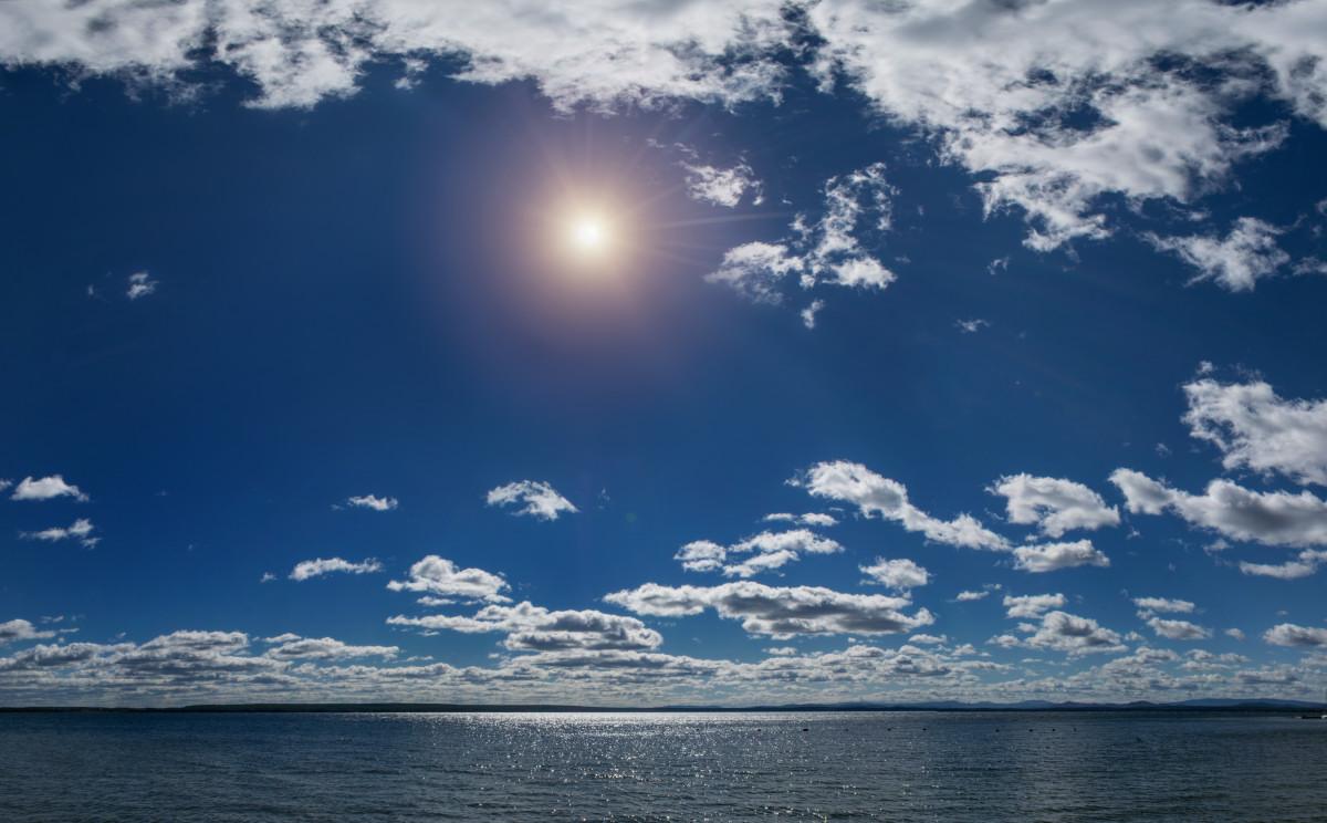 пейзаж, озеро, облака