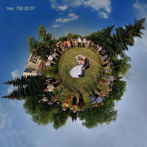 Свадебный фотограф в креативном жанре - панорама портрет планета