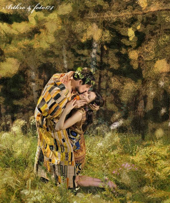 фотограф Челябинск автопортрет фотография римейк на картину поцелуй Густав Климт