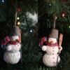 Снеговик из папье-маше - елочная игрушка