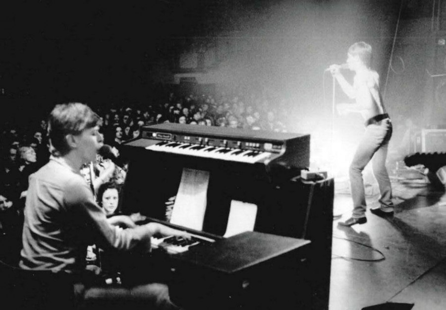 David Bowie playing keyboards for Iggy Pop, 1977.