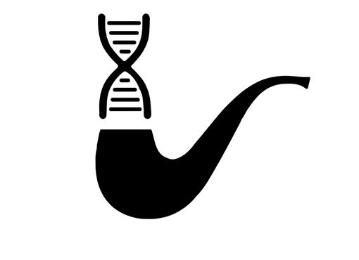 двойная спираль ДНК над курительной трубкой