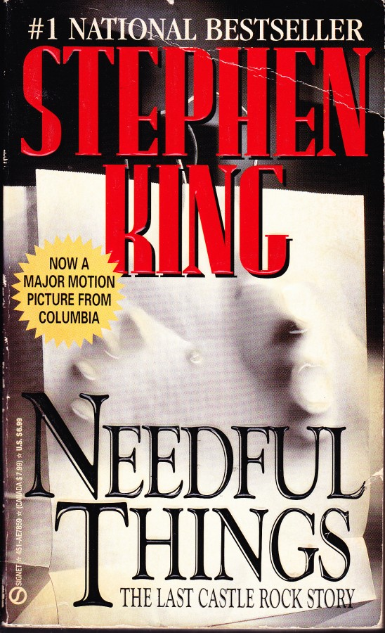 cover to Needful Things by Stephen King -- movie tie-in ed
