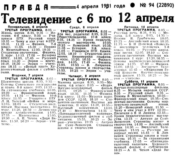 3-я программа ЦТ на 7-12 апреля 1981 года, Правда, 04.04.1981