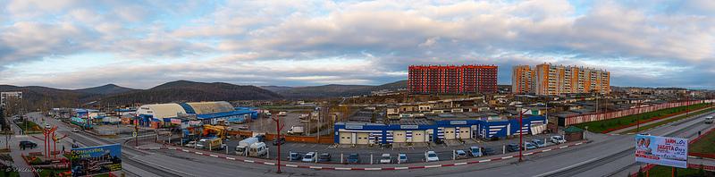 Вид с балкона на Пролетарской улице, город Сатка