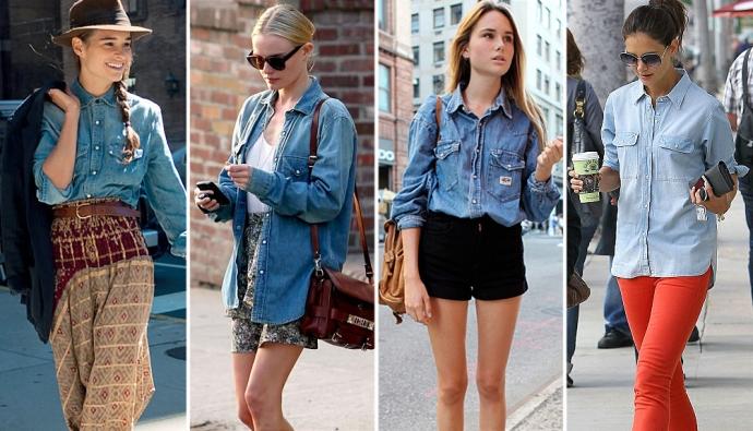 С чем носить джинсовую рубашку — модные образы картинки