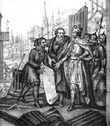 Grand_Duke_Yaroslav_the_city_resumes_after_the_devastation_of_the_Tatars_of_Russia_(Boris_Chorikov)