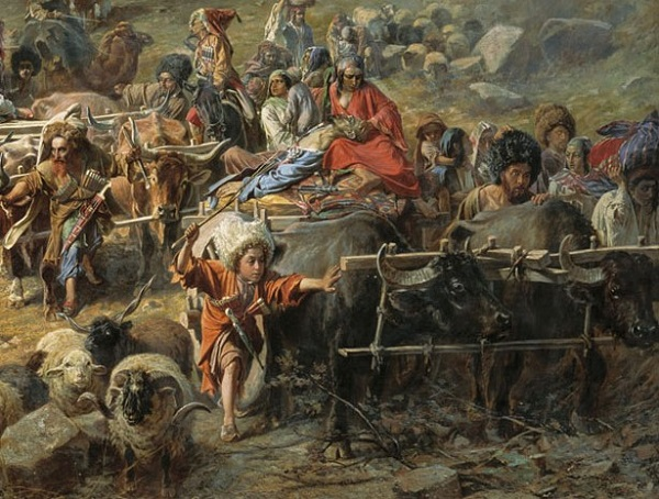 Pyotr_Nikolayevich_Gruzinsky_-_The_mountaineers_leave_the_aul
