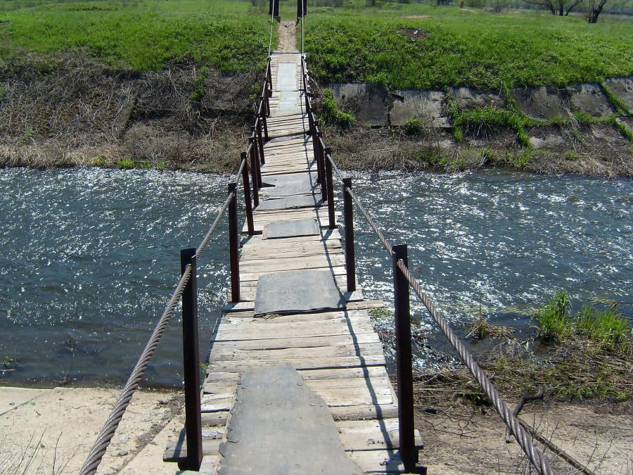 Подвесной мост на канатах.