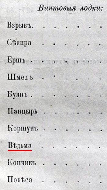 Винтовая лодка ВЕДЬМА 1860