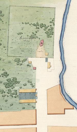 План Соломбалы 1859 цвет Кладбище 300