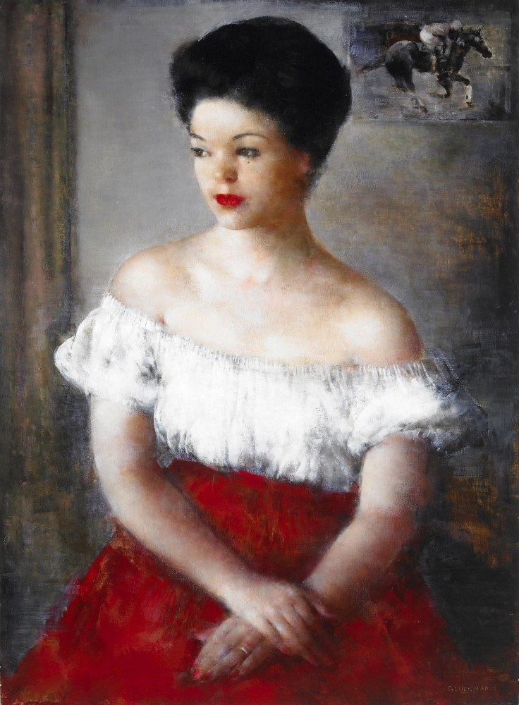Портрет дамы в крамсном. 83.8 х 61 см