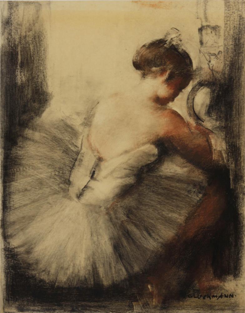 Балерина. 27.7 х 21 см. смешаная техника