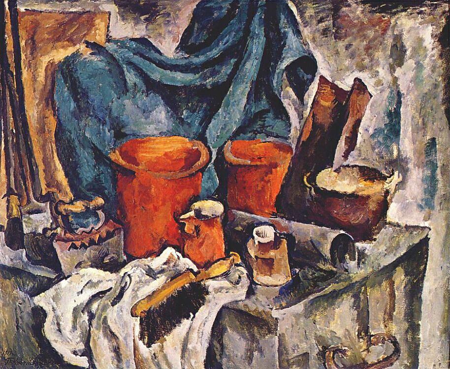 1919 Сундук и глиняняная посуда ('героическая натюрморт'). 143х174 ГРМ