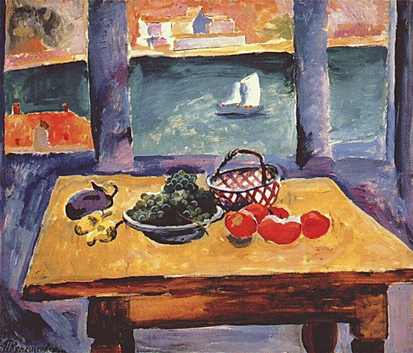 1929 Балаклава. Окно. (Виноград на столе). 94х112 ГРМ