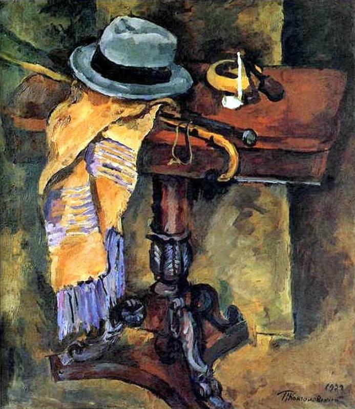 1929 Натюрморт. Стол со шляпой. 100х87