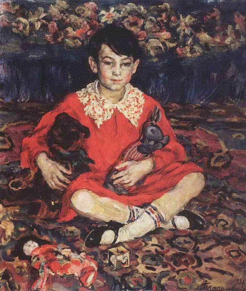 1931 Портрет девочки, сидящей на пестром ковре с игрушками. (Камушки Бенедиктовой). 94х82,3 Кострома