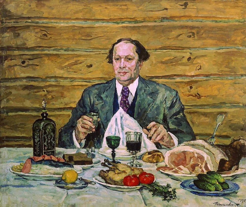 1941 А.Н.Толстой в гостях у художника. 142,5х169 ГРМ