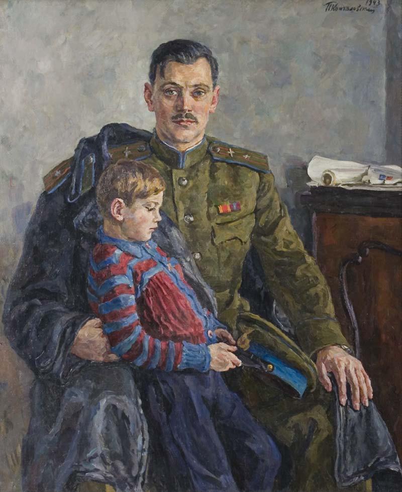 1943 Портрет поэта Сергея Владимировича Михалкова с сыном. 158х131,5 М.,б.